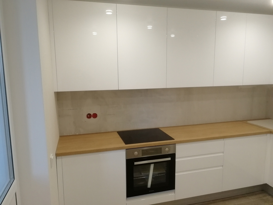 Белый кухонный гарнитур-Кухня МДФ в эмали «Модель 433»-фото3