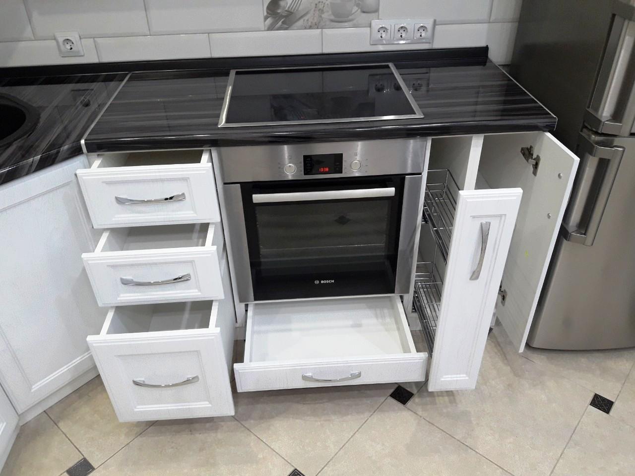 Белый кухонный гарнитур-Кухня МДФ в ПВХ «Модель 540»-фото6